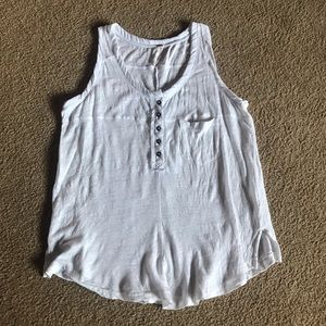 Free People white sheer tank top oversized fit XS